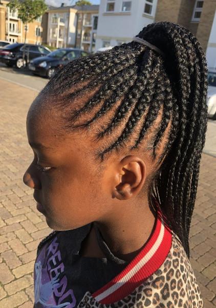 Feed In Stitch Braids Ponytail Lemonade Cornrows CustomCornrows Book Black Afro London Mobile Hair Salon Near Me Braider FroHub