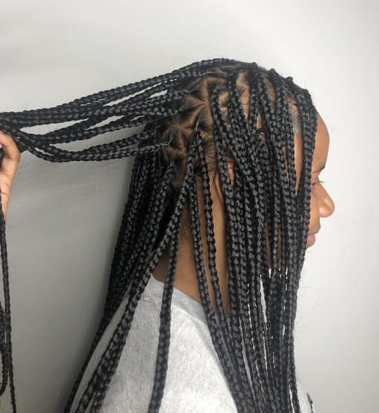 Triangle Knotless Box Braids CustomCornrows Book Black Afro London Mobile Hair Salon Near Me Braider FroHub