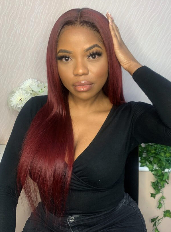 Custom Red Hair Colour Lace Frontal Wig Weave Maker SymmetryBeauty Book Black Afro London Hairstylist Appointment FroHub