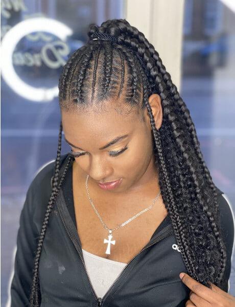 Stitch Feed In Ponytail Braids Creativhairstyles Book Black Afro London Hair Salon Braider FroHub