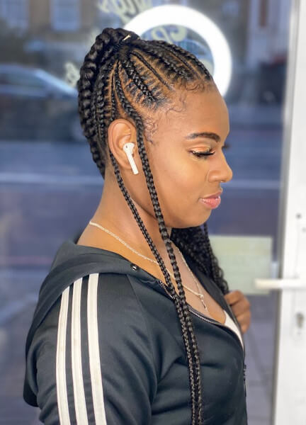 Stitch Feed In Ponytail Braids Creativhairstyles Book Black Afro London Hairdresser Braider FroHub