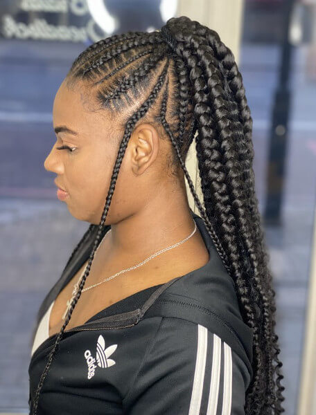 Stitch Feed In Ponytail Braids Creativhairstyles Book Black Afro London Hairstylist Braider FroHub